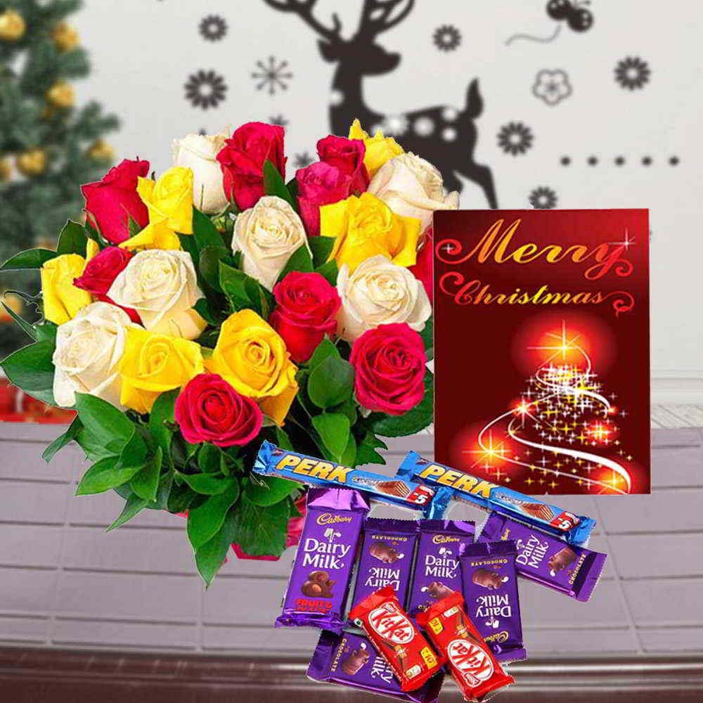 Chocolate & Flowers-Indian Assorted Chocolate Hamper with Christmas Card and Mix Roses Bouquet