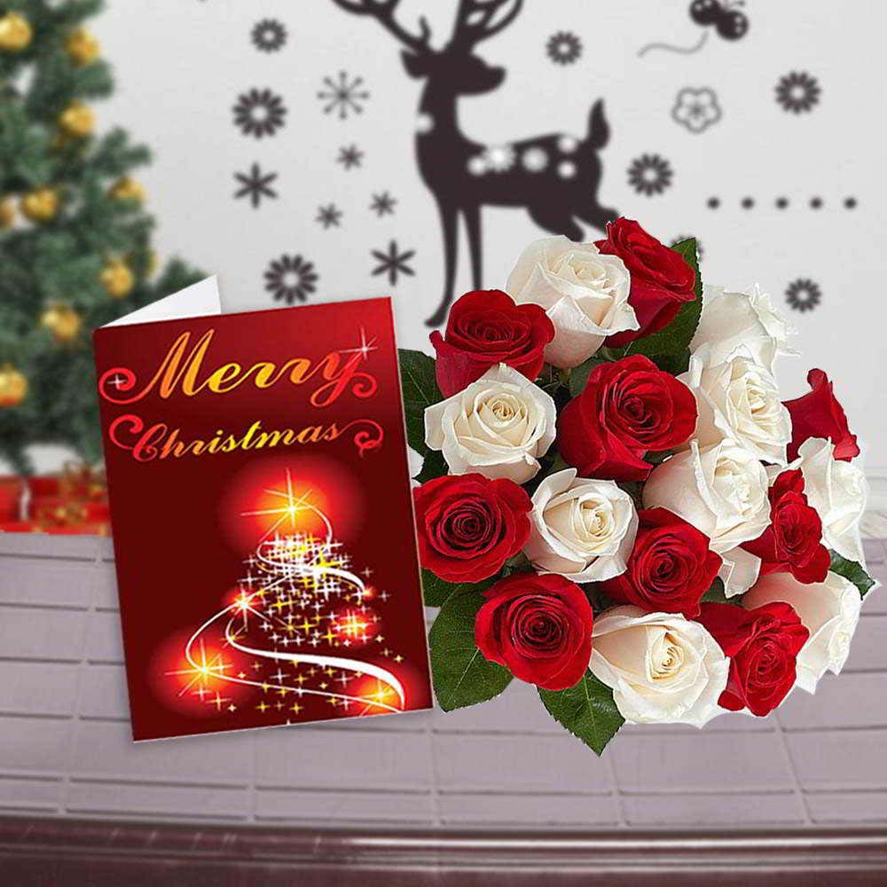 Fresh Flowers-Red and White Roses Bouquet with Christmas Greeting Card
