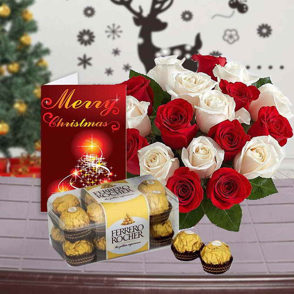 Roses Bouquet with Ferrero Rocher Chocolate and Christmas Greeting Card