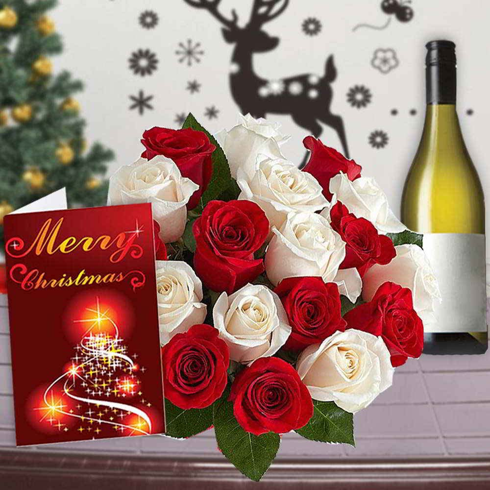 Wine Combos-Mix Roses Bouquet with Indian Wine and Christmas Card