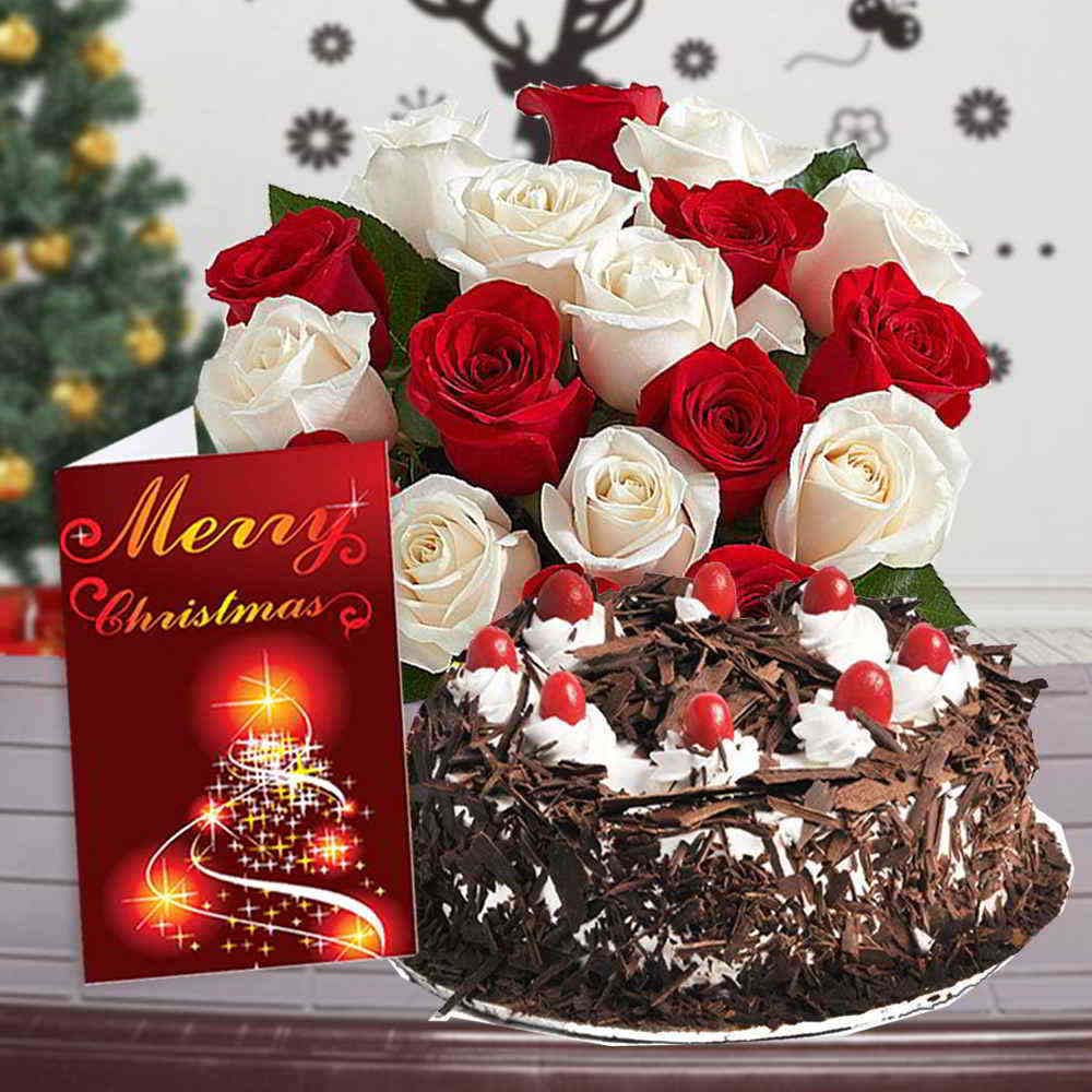 Cake & Flowers-Roses Bouquet with Black Forest Cake and Christmas Greeting Card