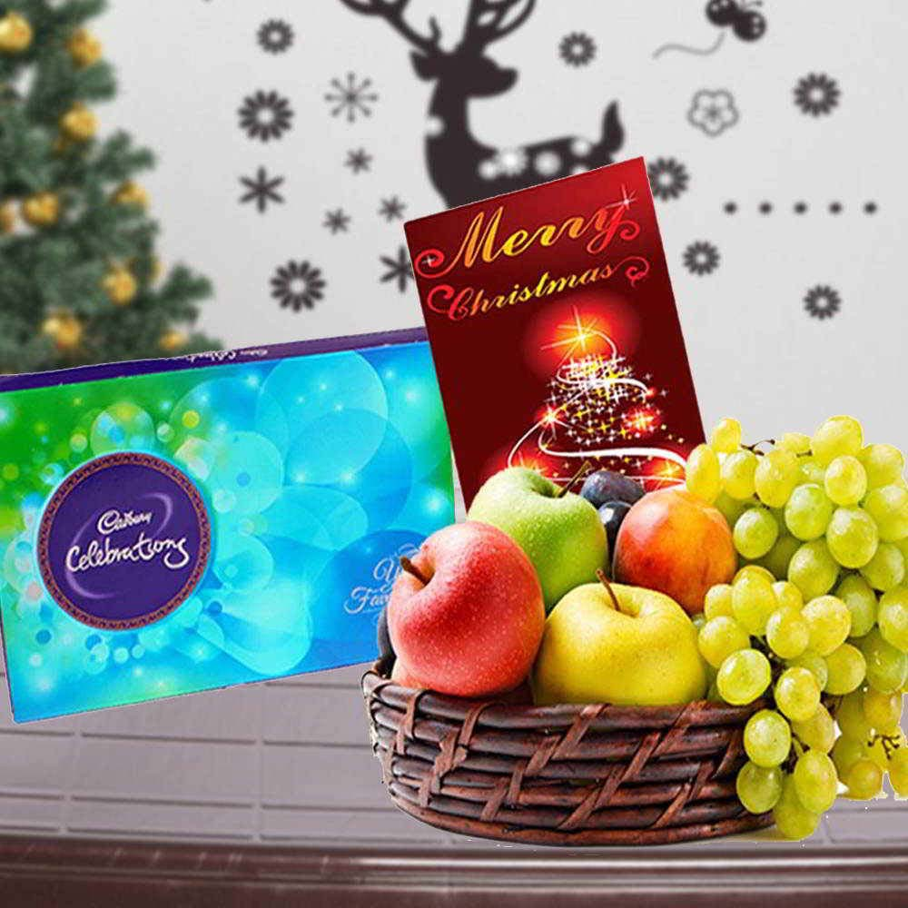 Floral Hampers-Cadbury Celebrations Chocolate with Fruits and Christmas Card