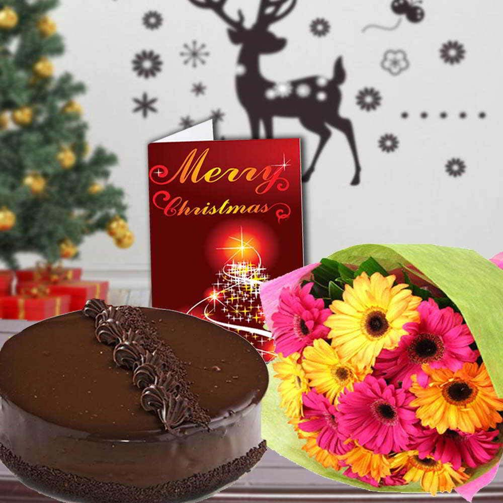 Cake & Flowers-Chocolate Truffle Cake with Mix Gerberas Bouquet and Christmas Card
