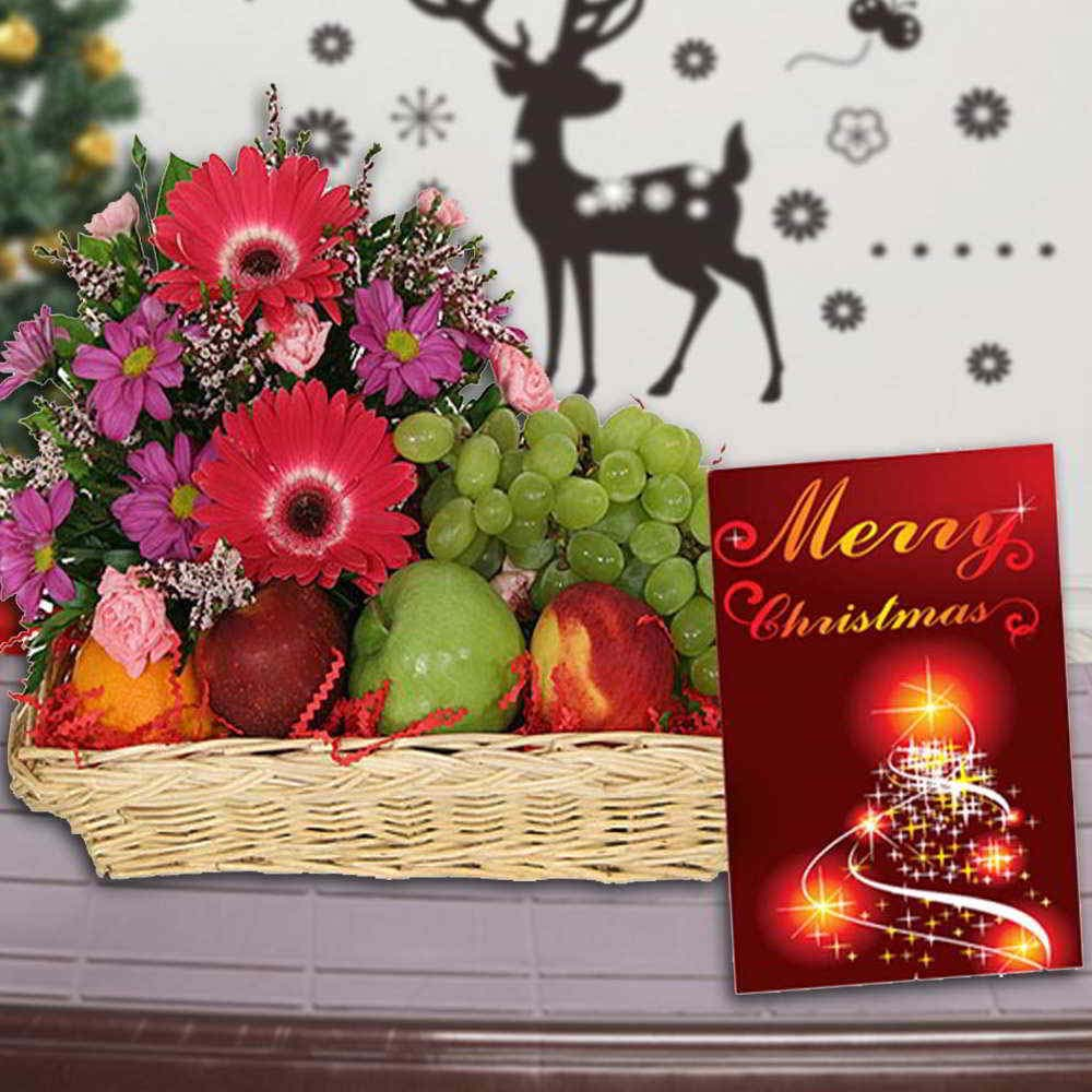Mix Flowers and Fruits Arrangement with Christmas Greeting Card