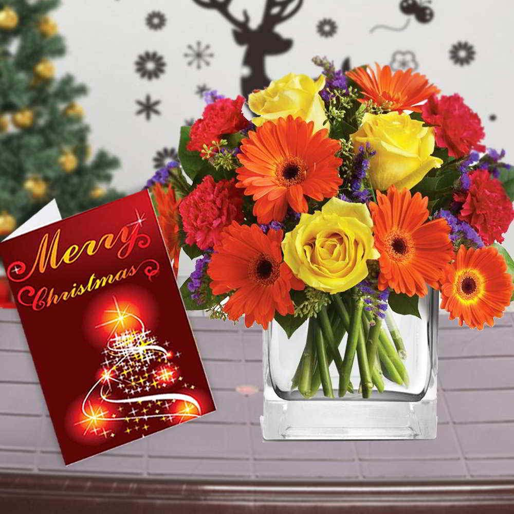 Fresh Flowers-Mix Flowers Vase Arrangement with Merry Christmas Greeting Card