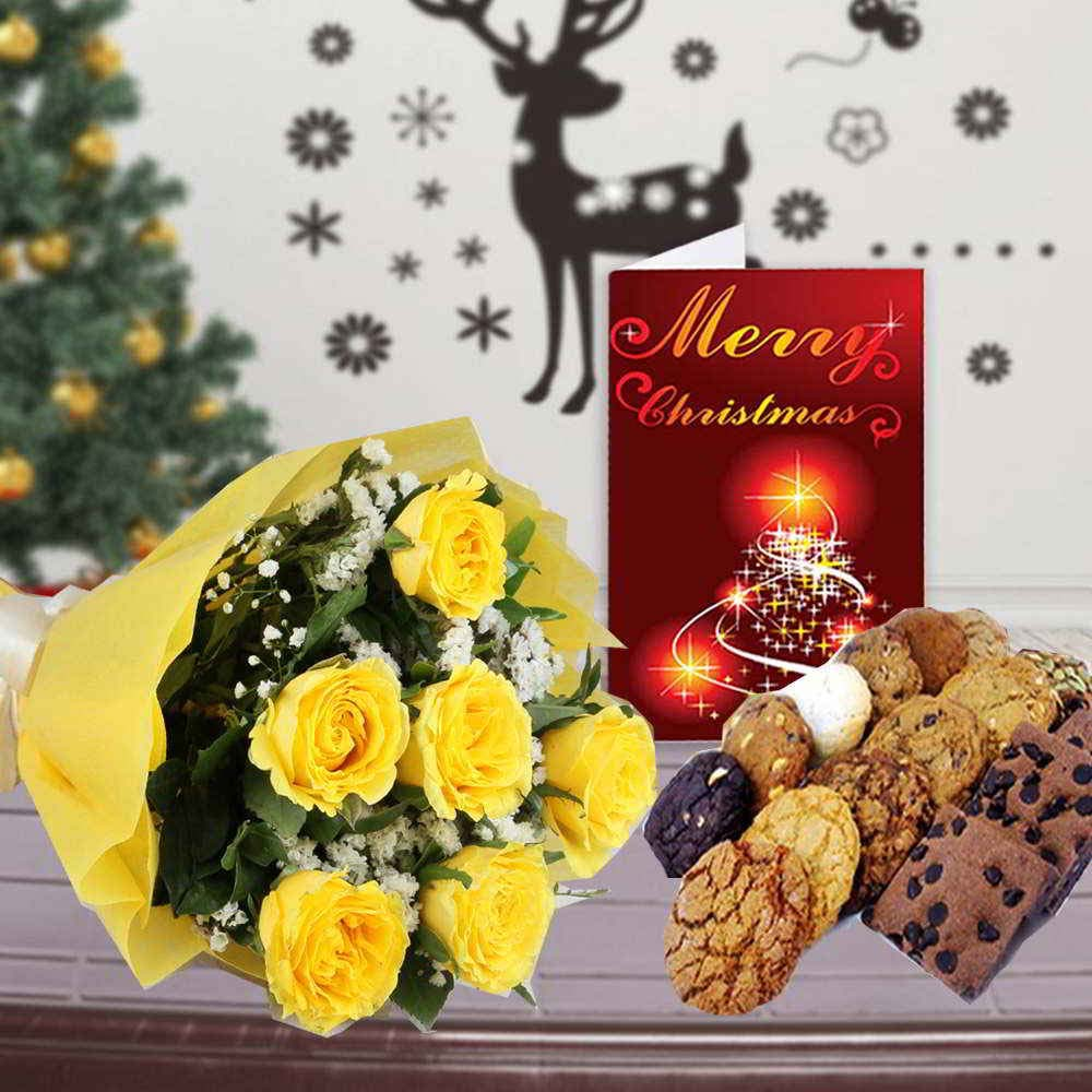 Chocolate & Flowers-Yellow Roses Bouquet with Assorted Cookies and Christmas Card