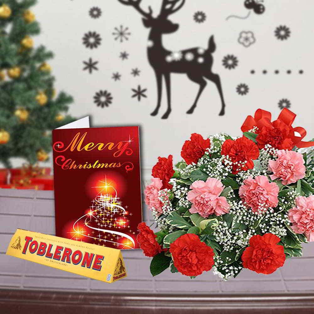 Chocolate & Flowers-Mix Carnations Bouquet with Toblerone Chocolates and Christmas Greeting Card