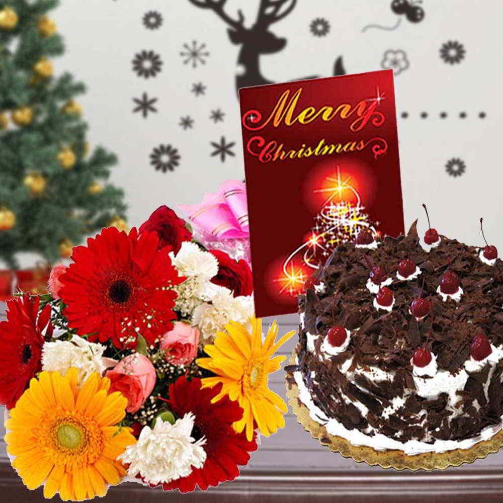 Mix Flowers Bouquet with Black Forest Cake and Merry Christmas Card