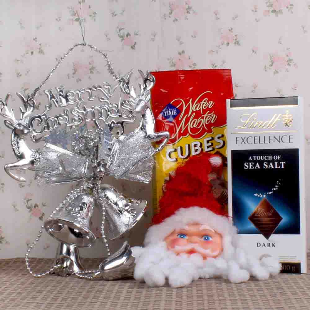 Merry Christmas Banner and Lindt Chocolate with Chocolate Wafers