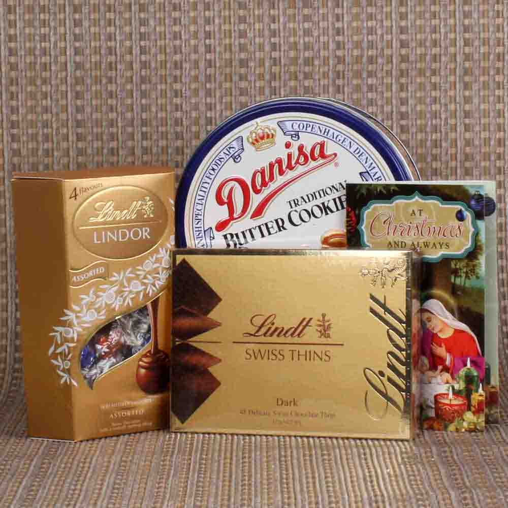 Christmas Hamper of Lindt Chocolate with Butter Cookies