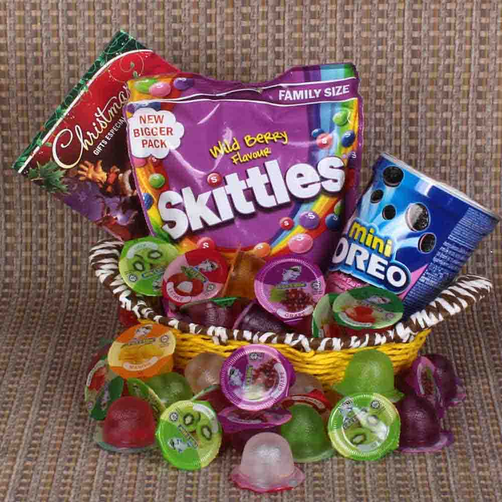 Christmas Gift Basket of Skittles and Mini Oreo with Fruit Jelly
